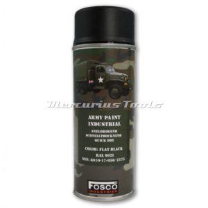 Legerverf matzwart Flat Black in 400ml spuitbus Fosco 46931213A