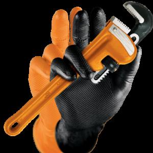 M-safe Grippaz nitril handschoenen voor extra grip oranje maat XL