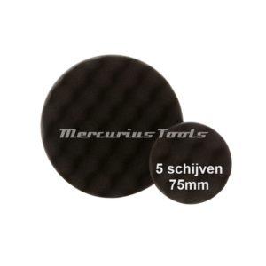 Polijst schijf 75mm wafel zwart fijn (5x) -Airo