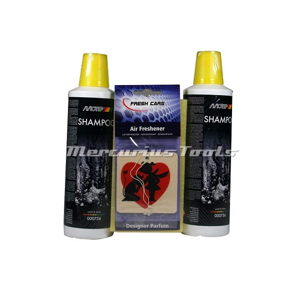 Shampoo was set met spons 2x 500ml -Motip 000756